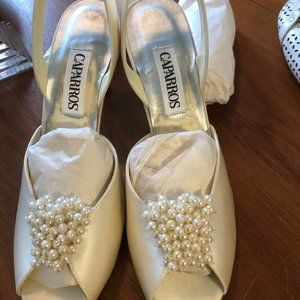 "Wedding Shoes Ivory Satin  with Pearls 3"" Heels"